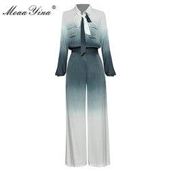 MoaaYina Fashion Designer Set Spring Autumn Women Long sleeve Single-breasted Ribbon Shirt Tops+Wide leg pants Two-piece sui
