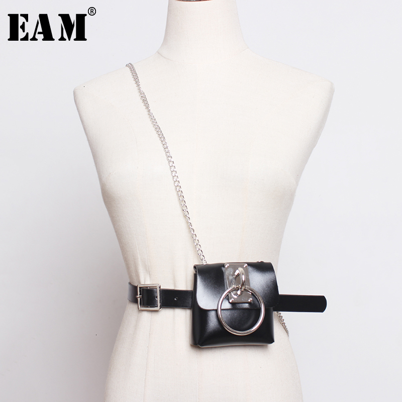 [EAM]  Pu Leather Chain Split Joint Mini-bag Long Belt Personality Women New Fashion Tide All-match Spring Autumn 2020 1H769