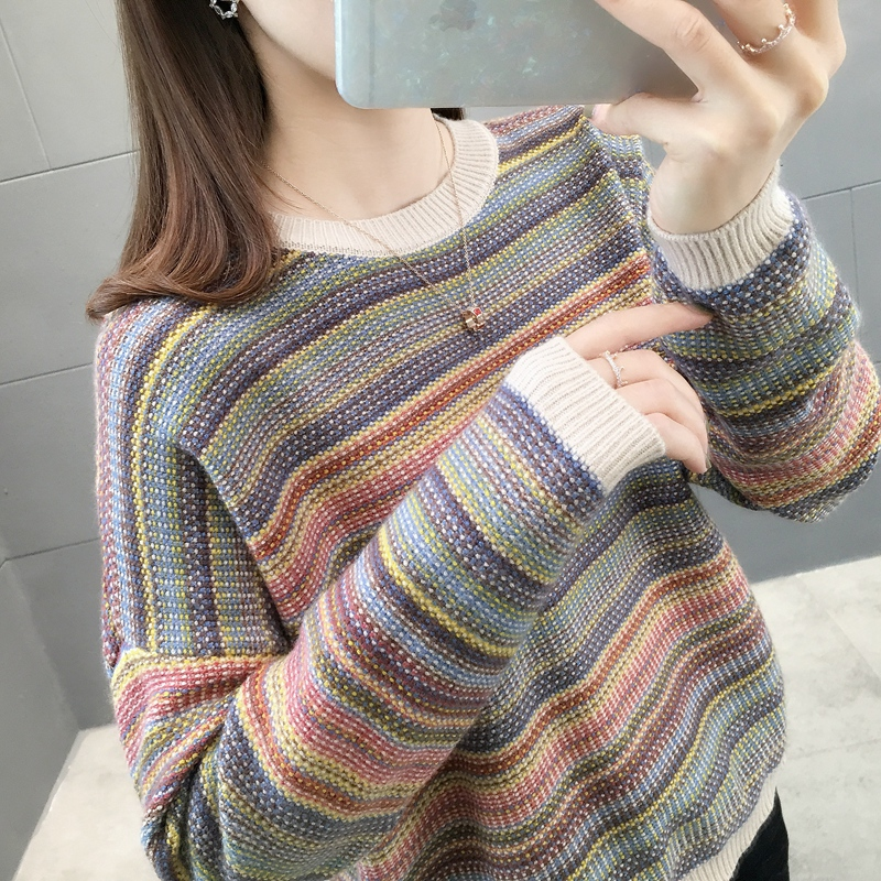 4054-Real-time Stripe Matching Knitting Sleeve Sweater 44 [R Zone 10 Left]ag