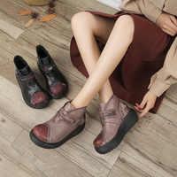 Frauen Leder Stiefel Stickerei Keil Heels Schuhe Damen Retro Stiefel Herbst Handarbeit Aus Echtem Leder Frauen Stiefeletten Brand174