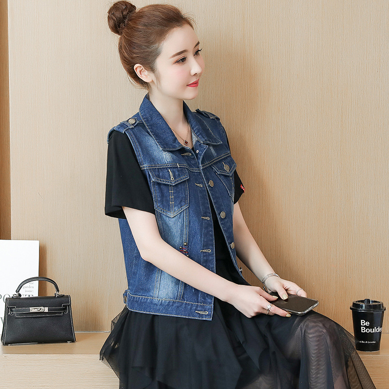 Photo Shoot 2019 Spring And Autumn New Style WOMEN'S Dress Korean-style Embroidered Rivet Large Size Denim Waistcoat Women's Sho