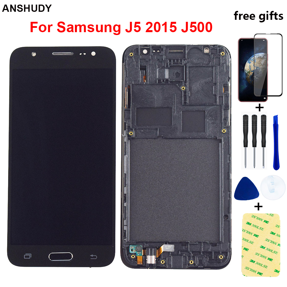 J500 <font><b>LCD</b></font> For Samsung Galaxy J5 2015 <font><b>LCD</b></font> Display J500H J500FN J500M <font><b>J500F</b></font> <font><b>LCD</b></font> Screen Touch Screen Digitizer Assembly Frame image
