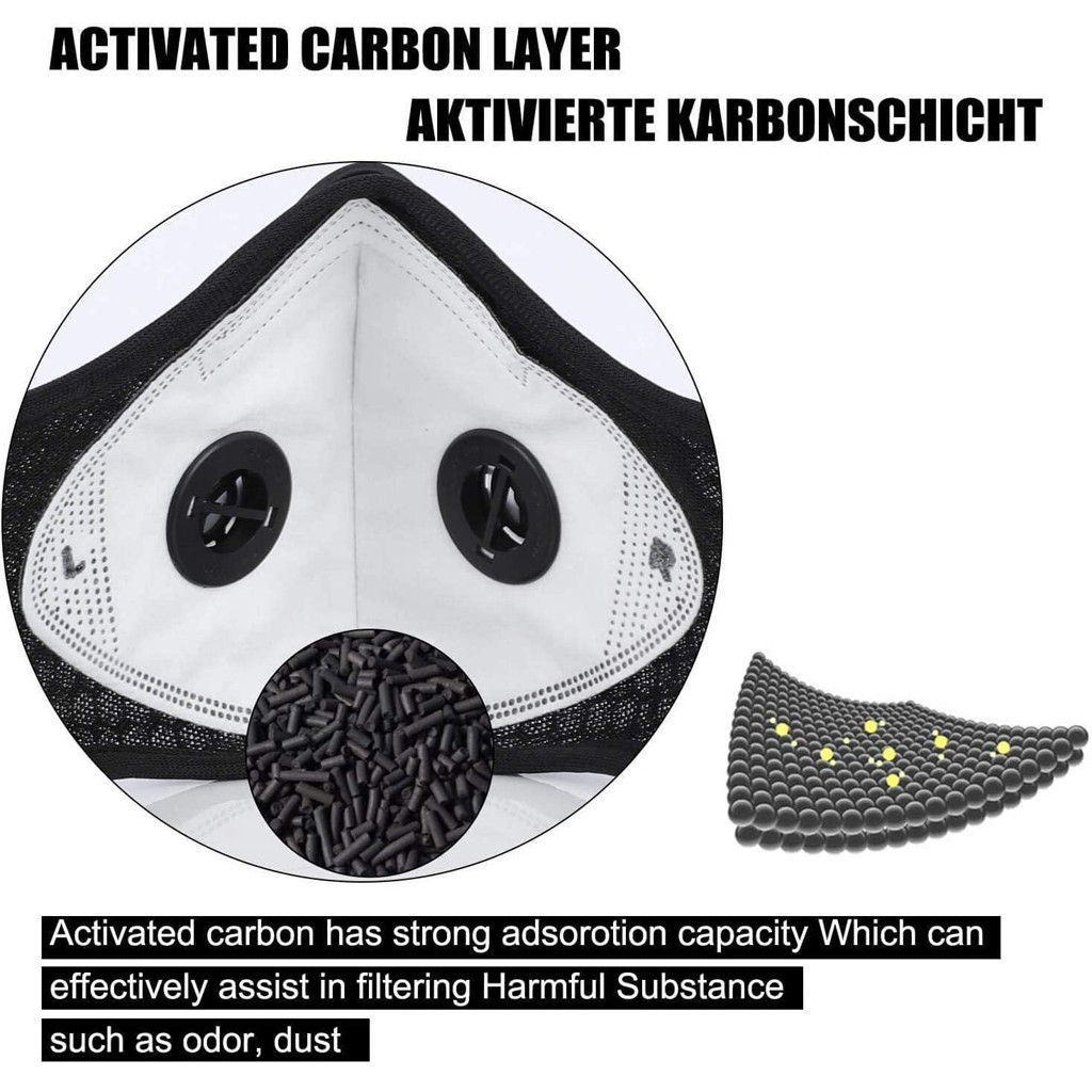 Reusable Carbon Dustproof Face Mask with 5 Filters 4