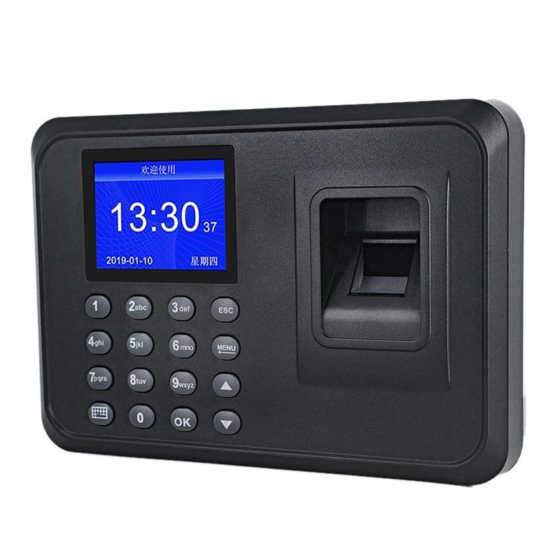 טביעת אצבע נוכחות מכונה LCD תצוגת USB טביעות אצבע מערכת נוכחות זמן שעון עובד בדיקה-ב מקליט (האיחוד האירופי תקע)