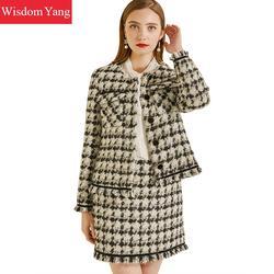 Комплект из 2 предметов, зимнее пальто, костюм в черную клетку, гусиная лапка, Cashemere, шерстяное твидовое пальто, женские мохеровые пальто, шер...