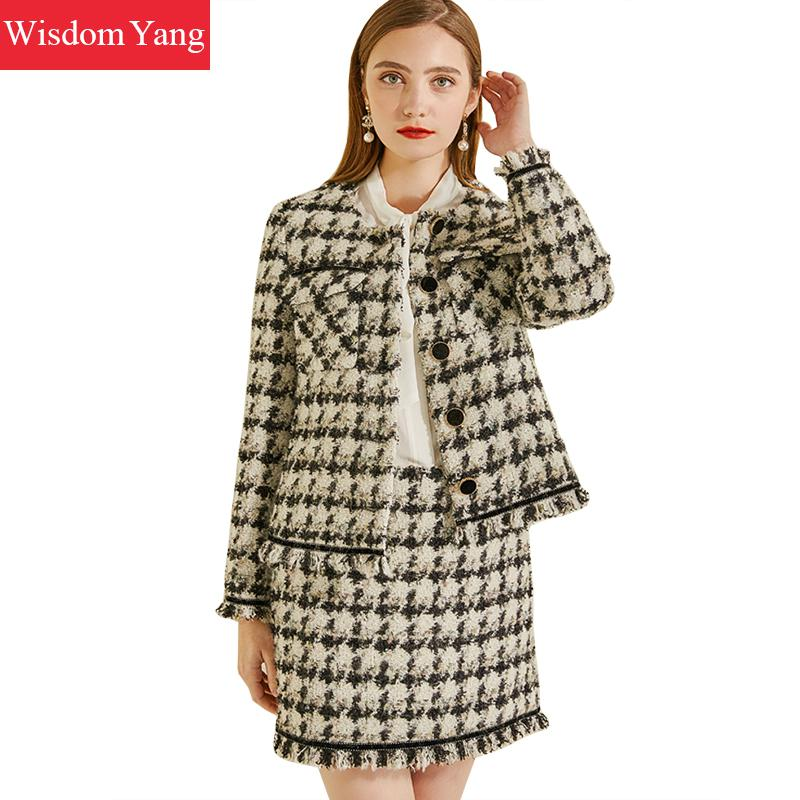 2 Piece Set Winter Coat Suit Black Plaid Houndstooth Cashemere Wool Tweed Coats Women Mohair Laides Woolen Mini Skirts Suits