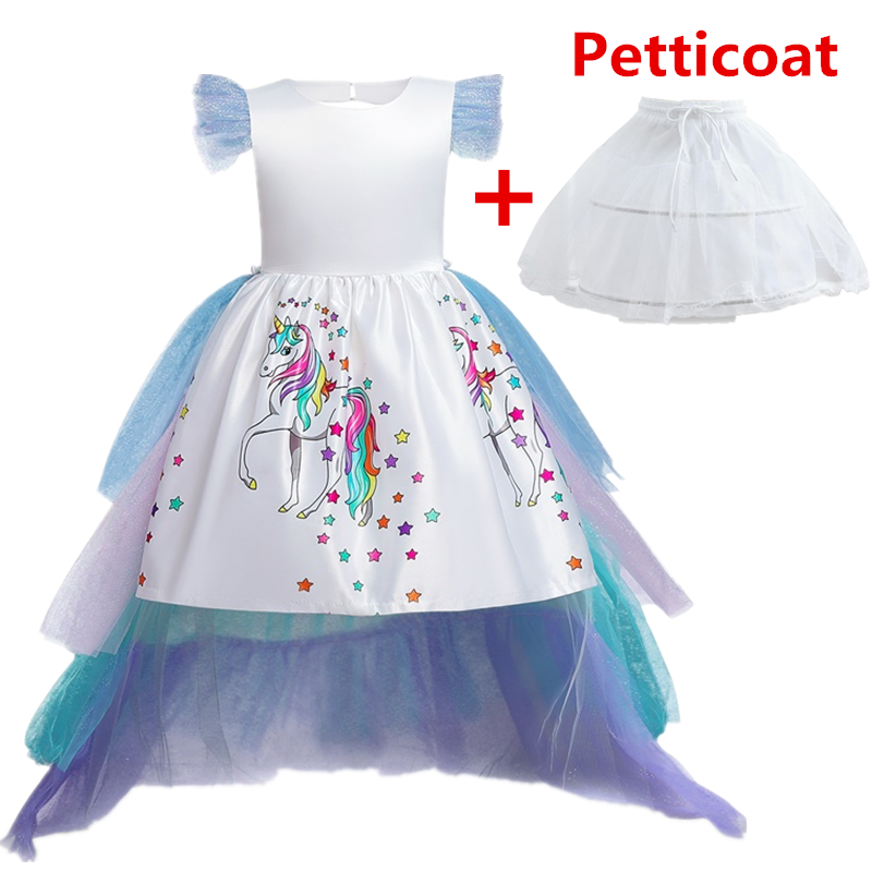 Vestido de unicórnio para meninas, vestido de festa de casamento, vestido de baile com pétalas, casaco infantil, aniversário, princesa, roupas aniversárias