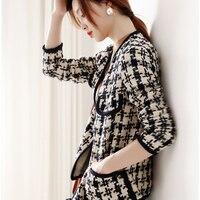 Women'sJacket Tweed Dark Blue Houndstooth Autumn / Winter jacket V neck Long Sleeve Business Ladies One Piece Jacket Coat