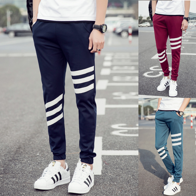 2017 Spring Summer New Style MEN'S Sports Pants Slim Fit Casual Pants Fashion Teenager Skinny Harem Trousers W08