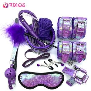 VRDIOS-productos sexuales para adultos, juego de Bondage BDSM, esposas, pinzas para pezones, pelota de mordaza látigo para azotes, accesorios exóticos, Juguetes sexuales