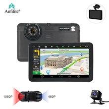 Anfilite caméra de tableau de bord avec double caméra 1080P, navigateur GPS, Quad Core, 16 go, H55, double caméra, enregistrement de cartes gratuites, Android, 7 pouces