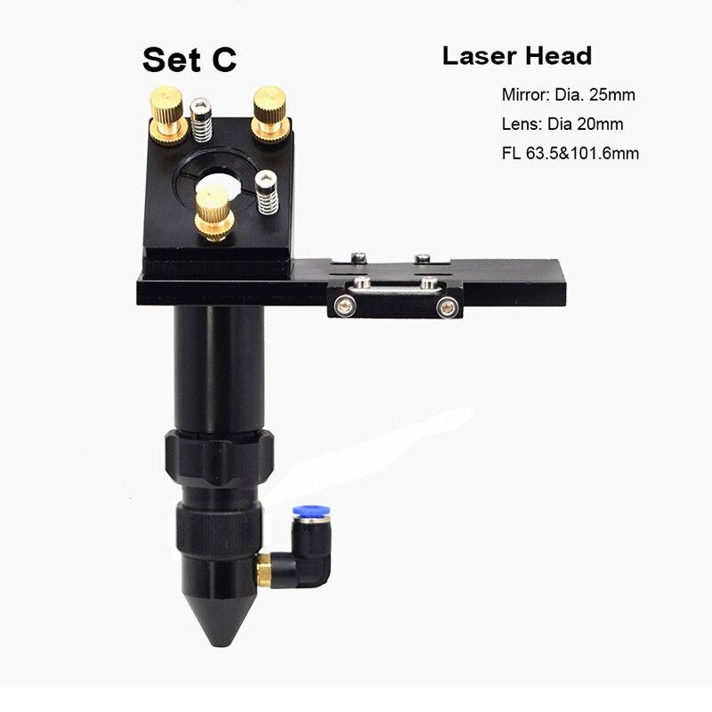CO2 набор лазерных головок Монтажный держатель фокусировочная линза 20 мм отражающее зеркало 25 мм FL 63,5 мм и 101 мм для гравера детали режущего