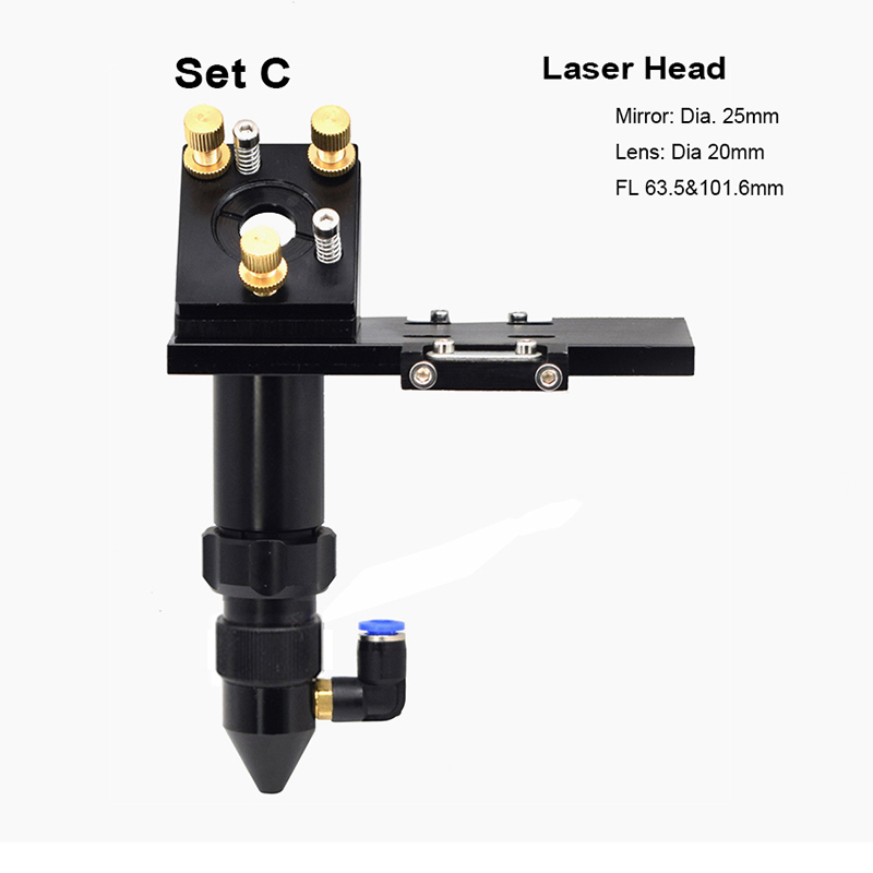 CO2 Laser Head Set Mounting Holder Focusing Lens 20mm Reflective Mirror 25mm FL 63.5mm&101mm For Engraver Cutting Machine Parts