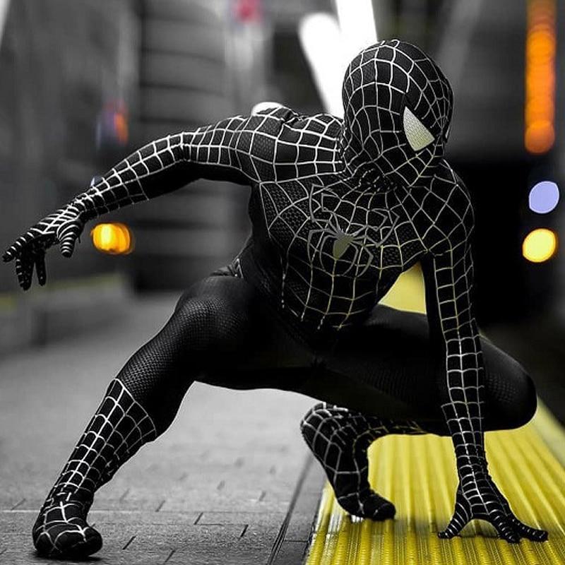 Adult Kids Black Dark SpiderMan Costume Cosplay Superhero Zentai Suit Venom Spiderman Catsuit Men Halloween Costumes Party Fancy