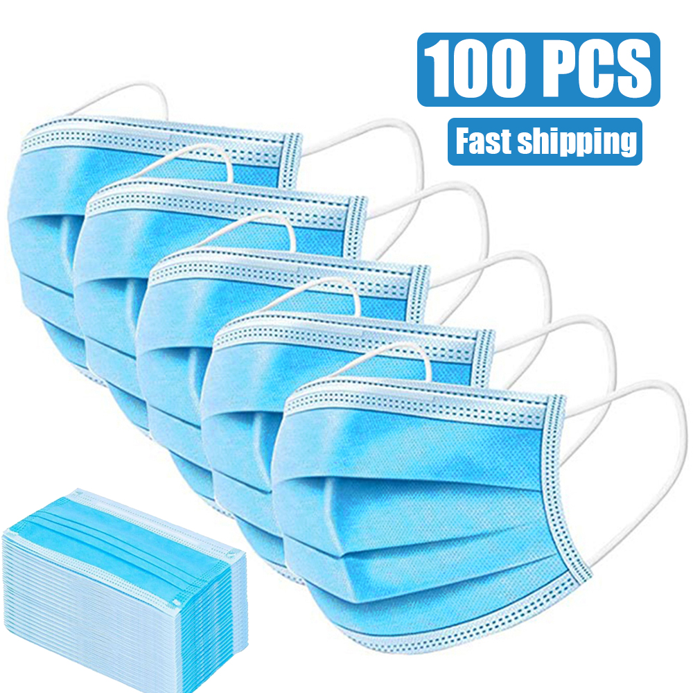 3ply Ear Loop Mouth Mask Face Dust Mask 100pcs  Anti Fog Home Outdoor Protection Masks Disposable Droplets Resist