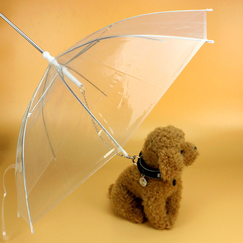 Top Transparent PE Pet Umbrella Small Dog Umbrella Rain Gear With Dog Leads Keeps Pet Dry Comfortable In Rain Snowing