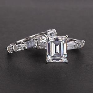 Image 2 - PANSYSEN 브랜드 리얼 925 스털링 실버 8x10MM 에메랄드 만든 moissanite 보석 반지 결혼 기념일 파인 쥬얼리 반지