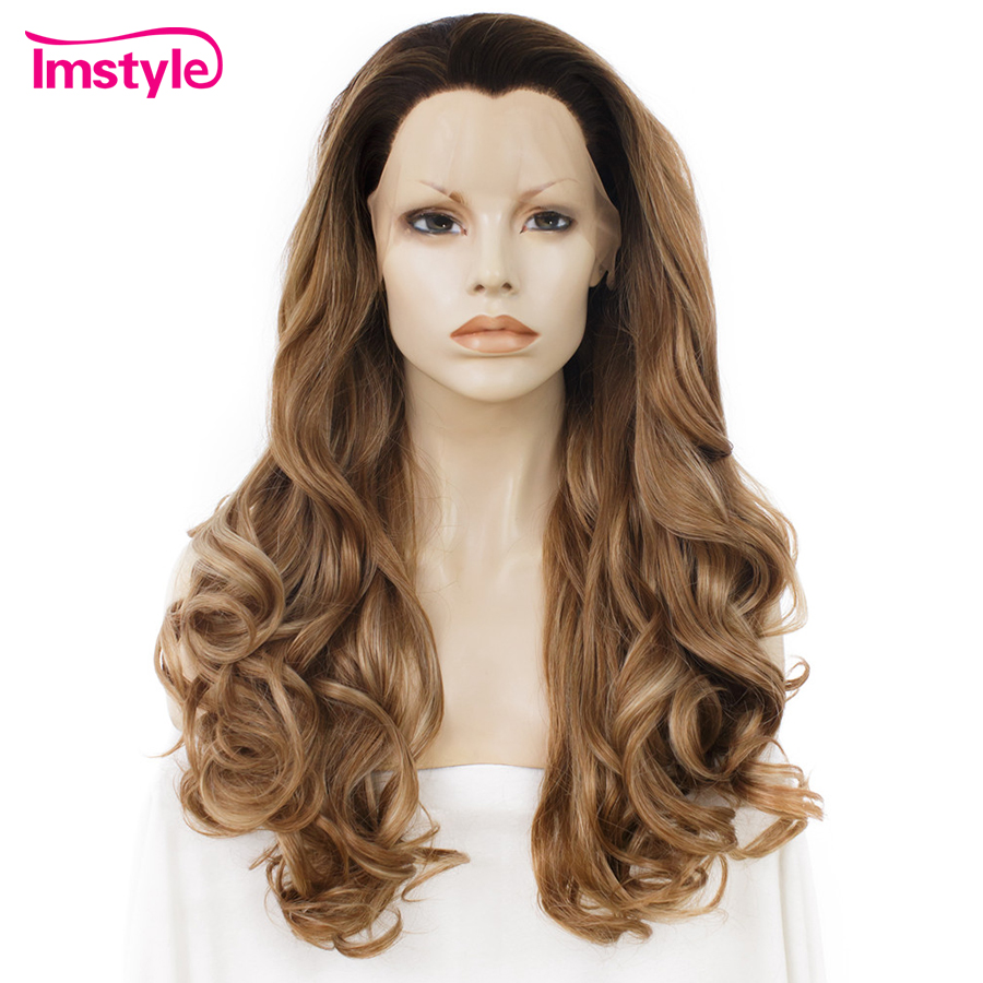 Imstyle Black Ombre Brown Wig Synthetic Lace Front Wig Natural Wavy Long Wigs For Women Heat Resistant Fiber Cosplay Daily Wig
