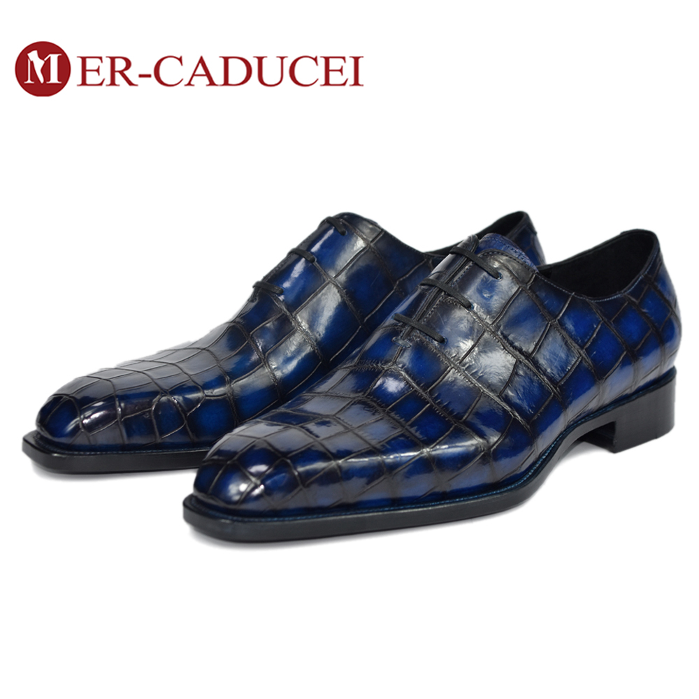 Crocodiler Shoes Mens Oxford Goodyear Italian Luxury Brand Handmade Vintage Retro Office Formal Wedding Party Men Dress Shoes
