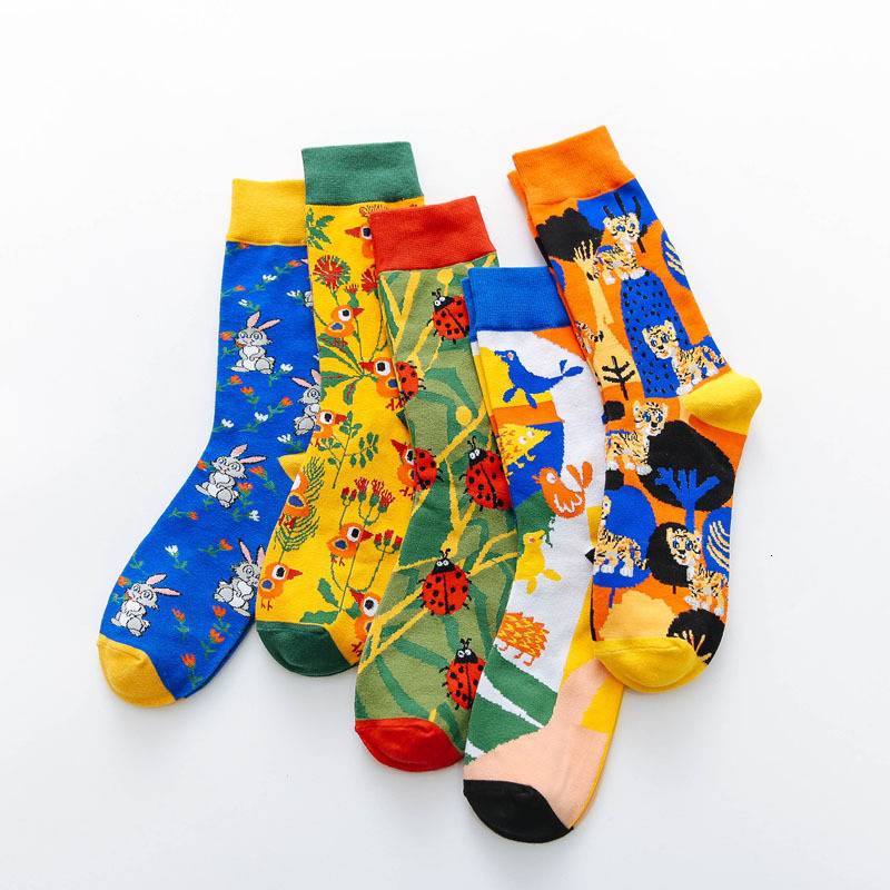 Happy Creative Socks Men Funny Cartoon Rabbit Bird Tiger Printed Calcetines Harajuku Novelty Casual Combed Cotton Socks