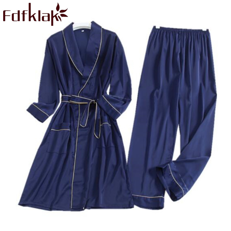 Fdfklak Silk Sleeping Clothes For Men Night Suit Pyjamas Men Sleepwear Spring Autumn Long Sleeve 2 Pieces Pajama Set