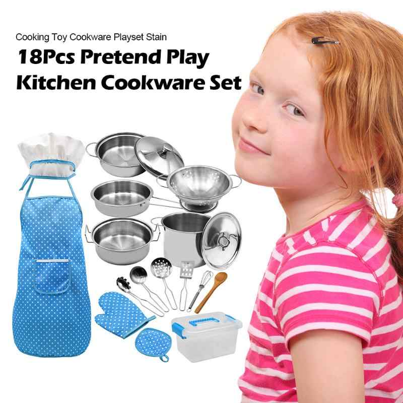 ילדי נירוסטה מטבח ערכת כלי בישול סיר מחבת בישול תפקיד לשחק צעצוע ילדים שף סט לבשל תלבושות עם סינר כובע