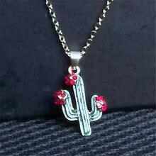 Charm Lotus Necklace For Women Men Vintage Cactus Flower Pendant Necklaces Punk Jewelry