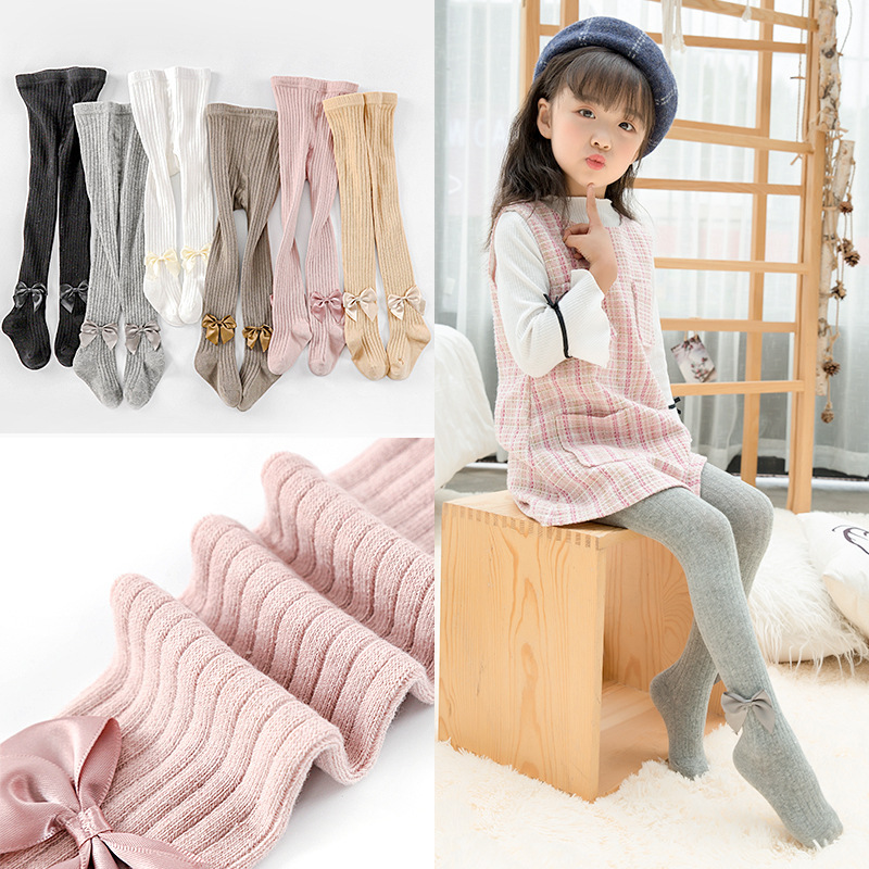 Collants en coton pour enfants | Collants de printemps et d'été, couleur Pure, collants décoratifs avec nœud papillon, collants noirs pour filles, collants tricotés et mignons pour enfants de 2-8 ans
