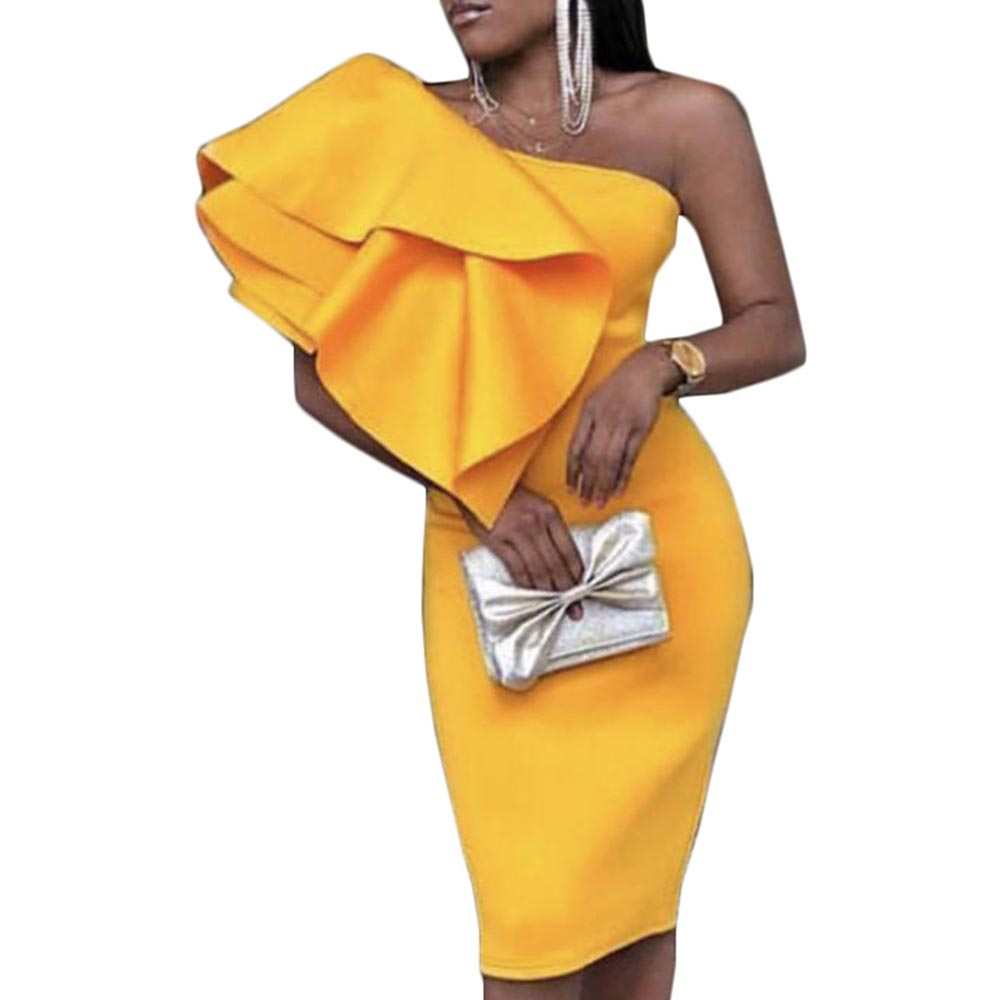 Sexy Party Dresses for Women One Shoulder Knee Length Bodycon African Evening Club robe Yellow Ruffle Long Dresses Plus Size 2XL