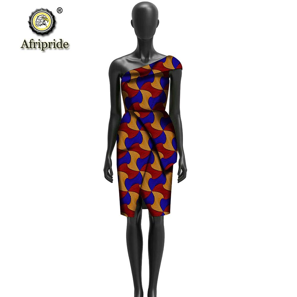 Robe africaine printemps ankara imprimé bazin riche pur coton milieu un sans manches dashiki cire tissu AFRIPRIDE S1825040