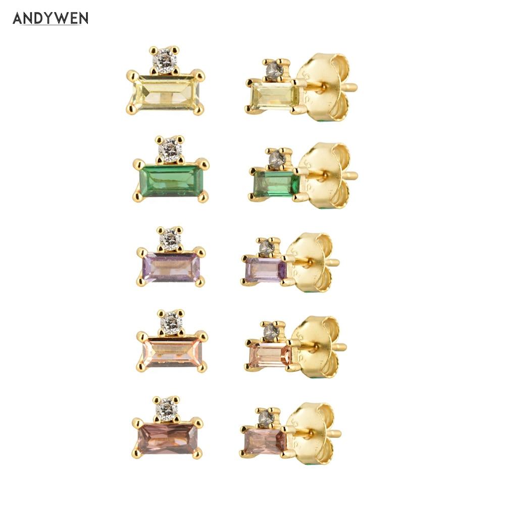 ANDYWEN 100% 925 Sterling Silver Small Zircon CZ Stud Earring 10 Color Mini Square Piercing Ohrringe Women Rock Punk Jewelry