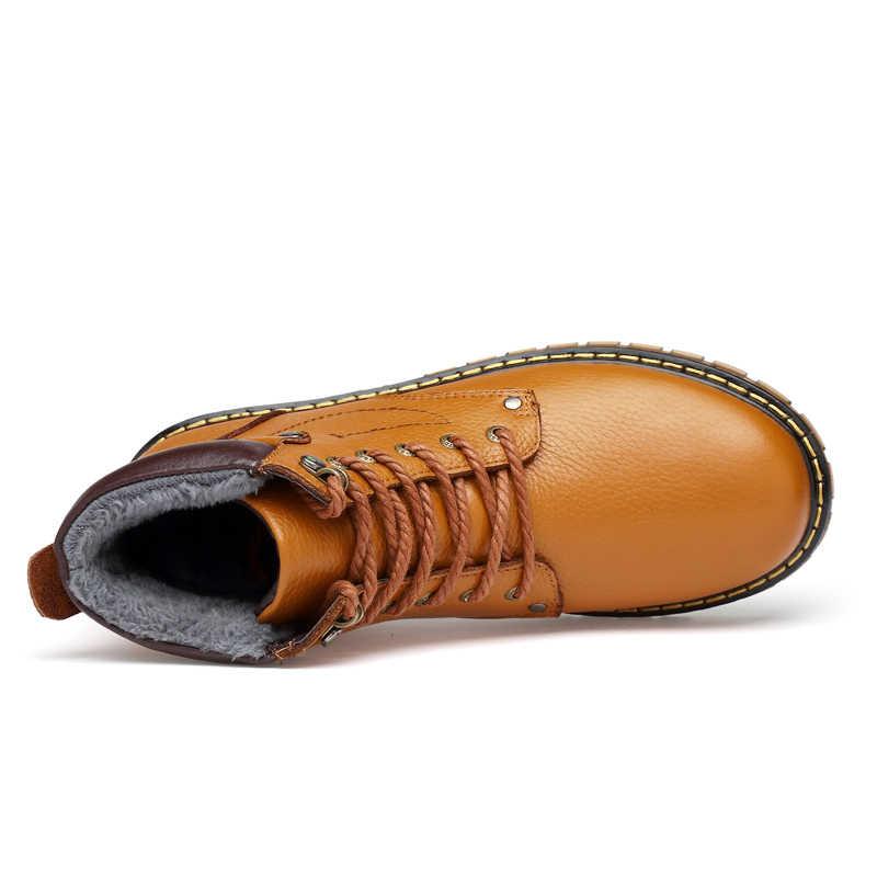 Hakiki Deri Erkek Botları Sonbahar Kış Kürk Sıcak Kar Botları Erkek Kışlık Botlar iş ayakkabısı Ayakkabı Kauçuk Ayak Bileği Ayakkabı