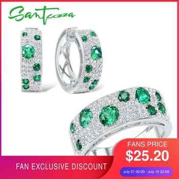 SANTUZZA Schmuck Set Für Frauen Authentische 100% 925 Sterling Silber Schimmernde Wünschen Grün CZ Ohrringe Ring Set Mode Schmuck