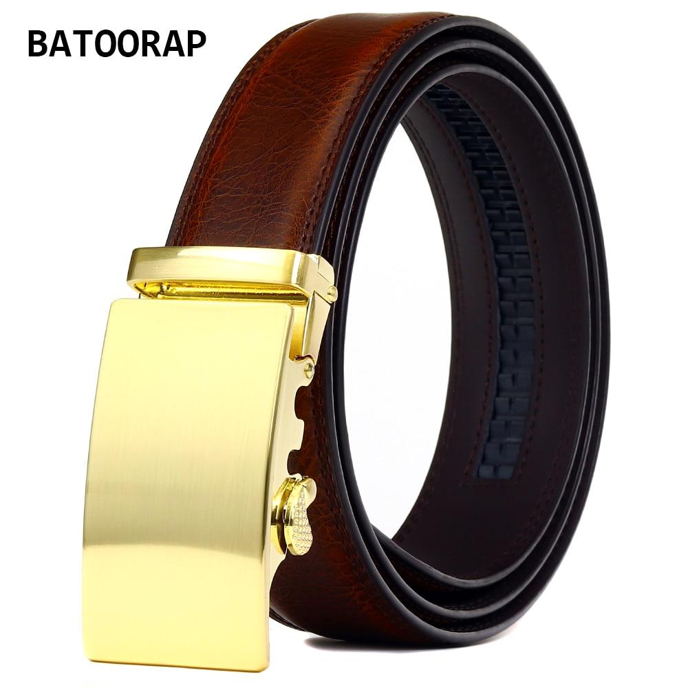 BATOORAP Fashion Luxury Mens Belts Genuine Leather Gold Alloy Automatic Buckle Casual Brown Trouser Strap Belt Z81P01
