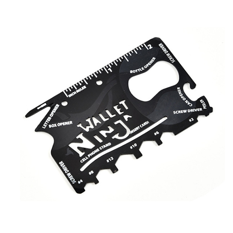 Multi-purpose Steel Tool Outdoor Card Hex Wrench Screwdriver Ruler Can Opener Survival Tool EDC Pocket Multitool Camping Tool