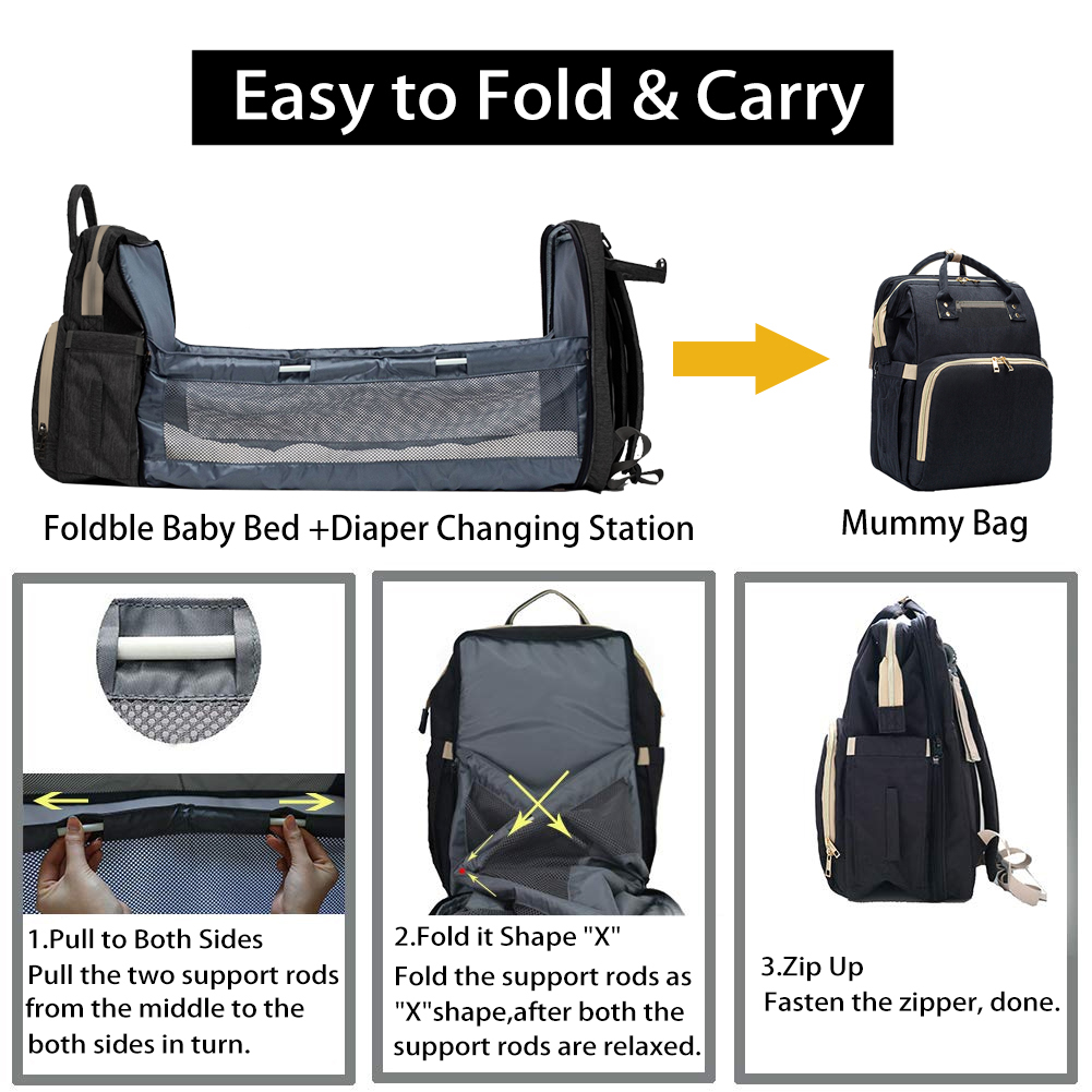 Portable Diaper Bag Baby Travel Backapack Baby Bed Diaper Changing Table Pads For Mom Dad Baby