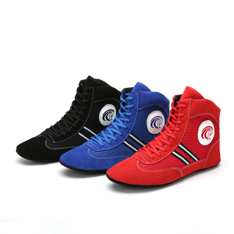 Men Sport Wrestling Shoes Lace Up High Top Male Training Shoes Man Professional Boxing Shoes Boxing Fighting Boots