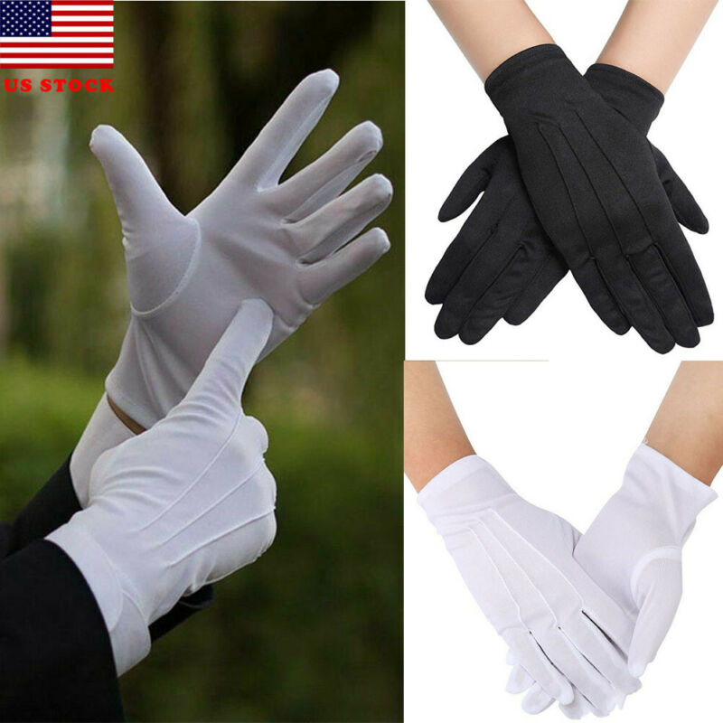 1 Pair Functional Cotton Gloves Khan Cloth Quality Check Solid Gloves Rituals Play White Gloves