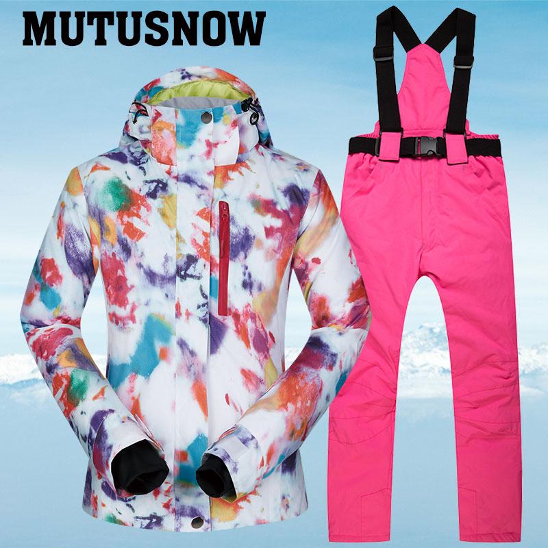 Лыжный костюм для женщин, брендовая зимняя водонепроницаемая ветрозащитная спортивная одежда, женская зимняя Лыжная куртка и штаны, зимний комплект с ремнем, костюмы для сноубординга