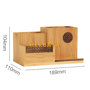 Image 5 - Multifunction Wooden & Bamboo Pen Pencil Holder Desktop Storage Box Retro Cosmetic Holder Creative Office Accessories CL 2524