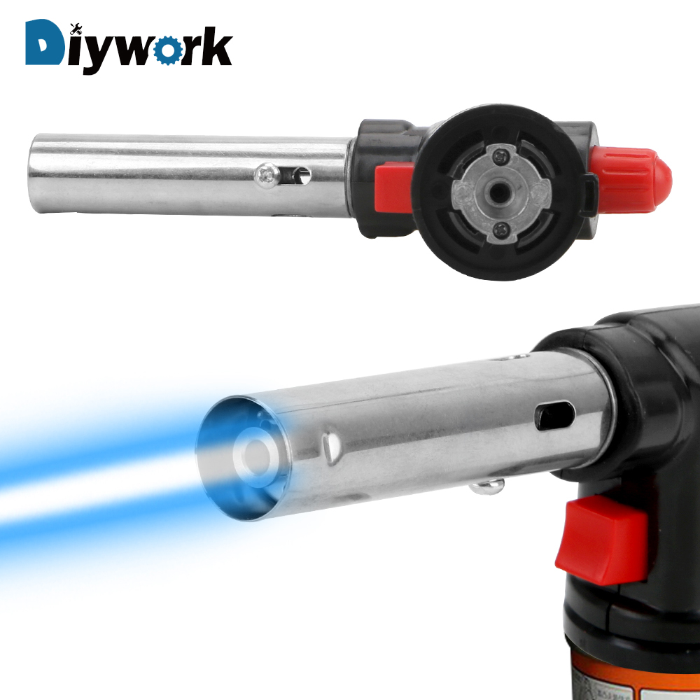 DIYWORK Butane Gas Welding Torch Heating Welding Gas Ignition Lighter Cooking Blow Torch 504C Metal Gun Torch Portable