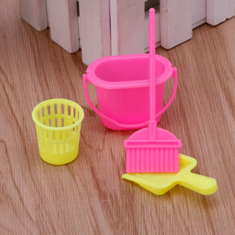 New 4Pcs Home Furniture Furnishing Cleaner Cleaning For Doll House Set Gift