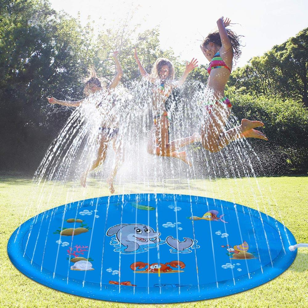 1 /1.5 /1.7M Outdoor Lawn Beach Sea Animal Inflatable Water Spray Kids Sprinkler Play Pad Mat Water Games Beach Mat Cushion Toys