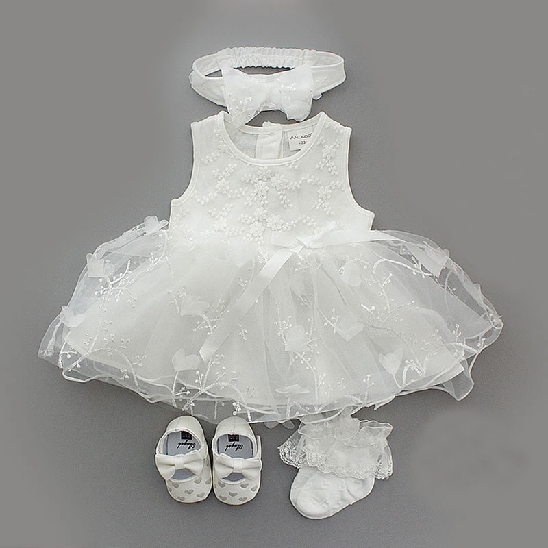 1 Set Baby Summer Dress Infant Girls Princess Christening Baptism Dress Gown Party Wedding 0-3 3-6 6-9 Months Dress Outfits