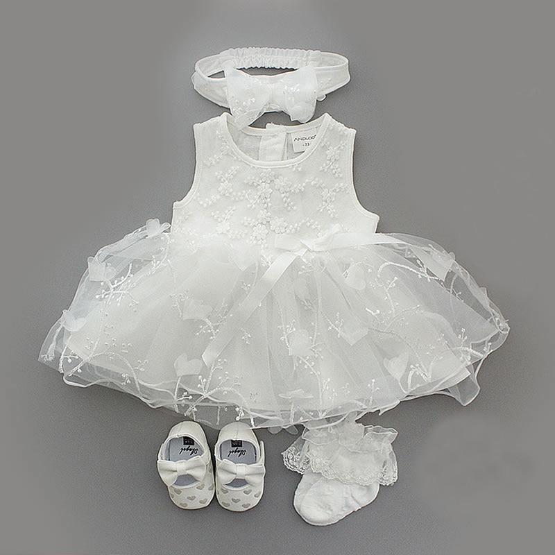 1 Set Baby Summer Dress Infant Girls Princess Christening Baptism Dress Gown Party Wedding 0-3 3-6 6-9 Months Dress Outfits