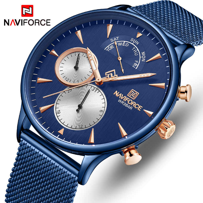 NAVIFORCE Watch Men Fashion Quartz Wristwatch Full Steel Mesh Sports Men's Watches Casual Calendar Male Clock Relogio Masculino
