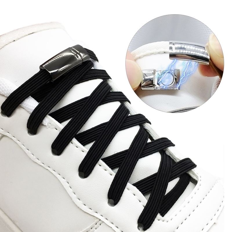 1Pair Elastic No Tie Shoelaces Magnetic Shoe Laces Unisex Flat Sneakers Shoelace Quick Lazy Lock Laces Q004