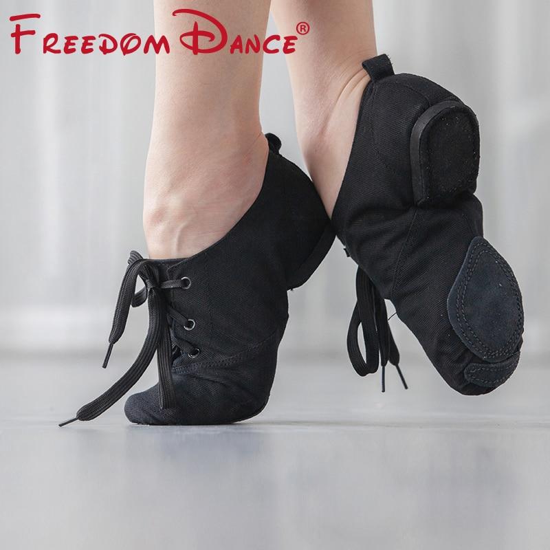 Тканевые танцевальные кроссовки для детей и взрослых, спортивная обувь на шнуровке с раздельными подошвами для джаза, гимнастики, фитнеса, тренировочная обувь, размер 31 45|Обувь для танцев|   | АлиЭкспресс
