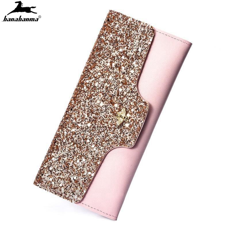 women's wallet glitter for women carteira feminina luxe shiny carteras mujer Leather genuine purse Ladies female partmon