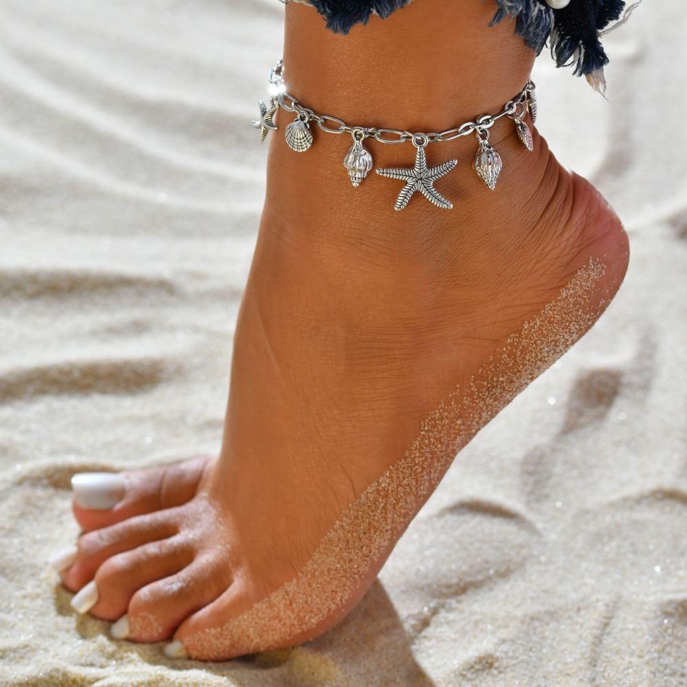 Boho Silver Plated Starfish Conch Pendant Metal Anklet Bracelet On Leg Chain Summer Beach Accessories Shell Anklet Fusskett